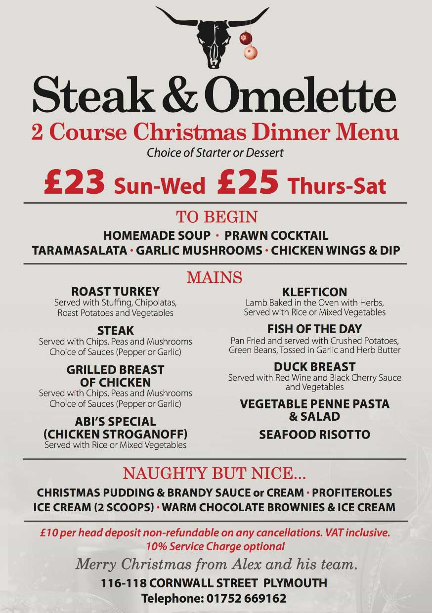 Steak and Omelette Lunch Menu